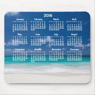 Custom Yearly Calendar 2016 Mouse Pad Beach