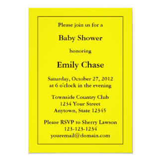 "Custom Yellow Baby Shower Invitation 5"" X 7"" Invitation Card"