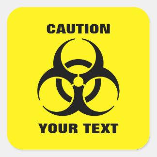 Custom Yellow Biohazard Symbol Warning Sign Square Sticker