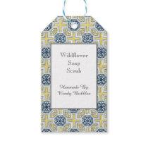 Custom Yellow Blue Geometric Faux Tile Soap Tag