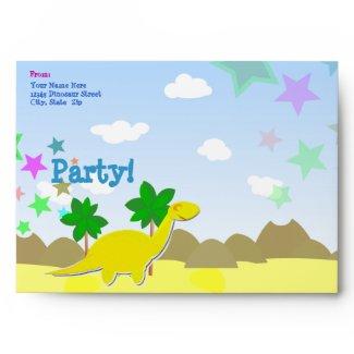 Custom Yellow Cartoon Dino Party Envelopes envelope
