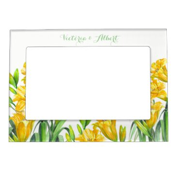 Professional Business Custom Yellow Day Lillies Floral Illustration Magnetic Photo Frame