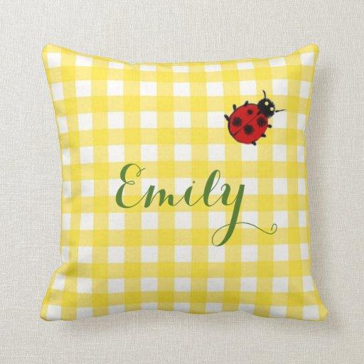 Welcome Home Throw Pillow : Custom Yellow Gingham & Ladybug Welcome Home Baby Throw Pillow Zazzle