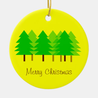 Custom Yellow Merry Christmas Trees Ornament