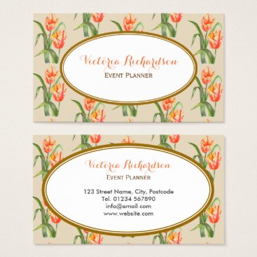 Professional Business Custom Yellow Parrot Tulips Floral Art Business Card
