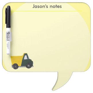 Custom yellow sand truck dry erase board