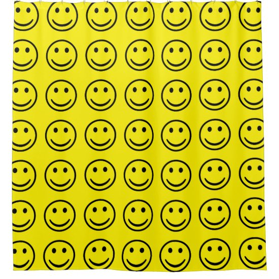 Custom Yellow Smile Face Pattern Shower Curtain