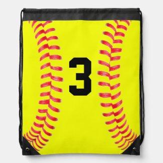 Custom Yellow Softball Drawstring Bag with Numbers