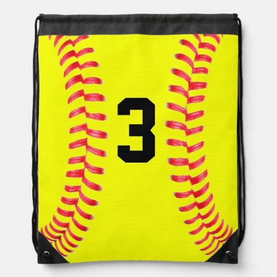 Custom Yellow Softball Drawstring Bag With Numbers