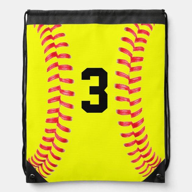 Custom Yellow Softball Drawstring Bag with Numbers | Zazzle