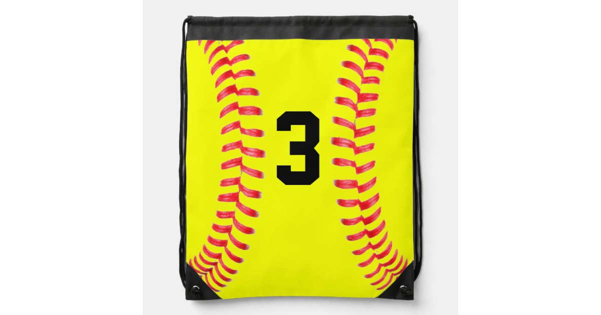 Custom Yellow Softball Drawstring Bag with Numbers | Zazzle