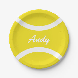 Custom yellow tennis ball BBQ party paper plates