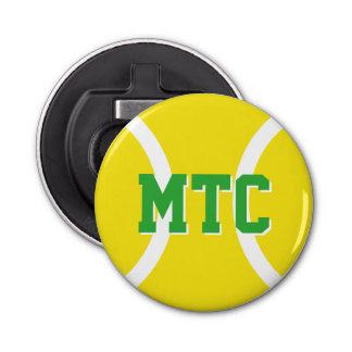 Custom yellow tennis ball bottle opener magnet