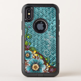 Custom Yellow Turquoise Summer Floral Weave Motif OtterBox Commuter iPhone X Case