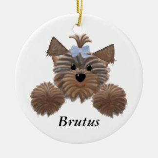 Custom Yorkie Christmas Ornament