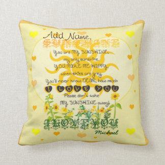 Custom You are My Sunshine Throw Pillow