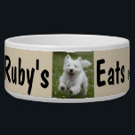 """Custom Your Dog&#39;s Photo &amp; Name Personalize Bowl<br><div class=""""desc"""">Nice squat ceramic dog bowl,  add your photo &amp; personalize the name. Design tip: you can change the color band using the Color Picker tool.</div>"""