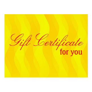 Custom your Gift Certificate with text & backgr. Postcard