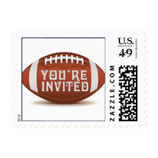 Custom you're invited design for football fan stamp