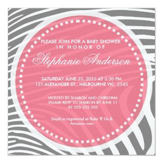 Custom zebra baby shower invite
