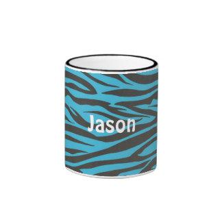 Custom Zebra Black and Blue Striped Coffee Mug