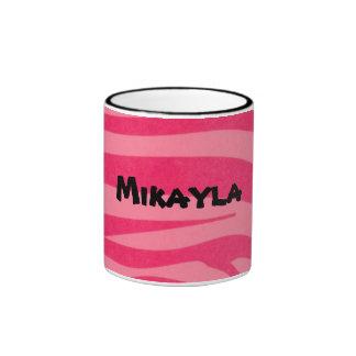 Custom Zebra Pink and Hot Pink  Striped Coffee Mug