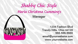 Custom Zebra Print Handbag Business Card