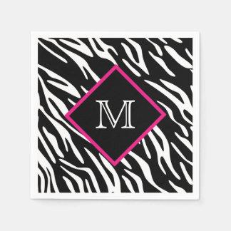 Custom Zebra Print Monogram Napkins Standard Cocktail Napkin