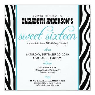 :custom: Zebra Sweet 16 Party Invitation (aqua)