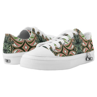 Custom Zipz Low Top Shoes, green and red diamonds