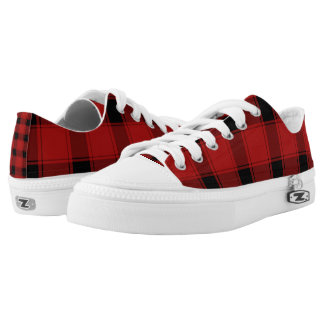 Custom Zipz Low Top Shoes, Plaid Red