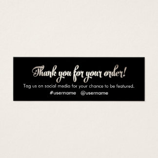 Thank you business cards templates zazzle customer appreciation silver thank you for order mini business card reheart Image collections