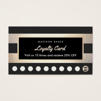Customer Loyalty 10 Punch Gold and Black Striped Business Card