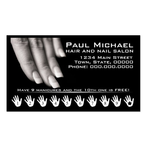Customer Loyalty Cards | Nail Salon Business Cards
