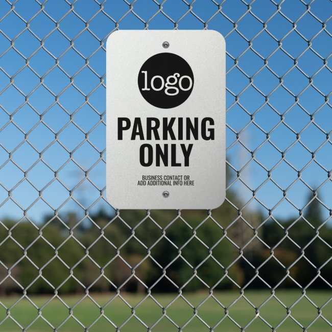 Customer Parking Only Basic Logo Custom Text Metal Sign