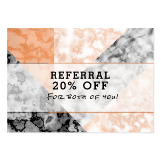 Customer Referral Pink Marble Collage Large Business Card