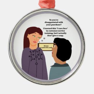 Customer Service Rep's Caring Face Metal Ornament