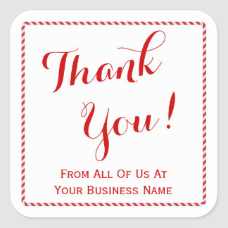Customer Thank You Company Name Holiday Red Stripe Square Sticker