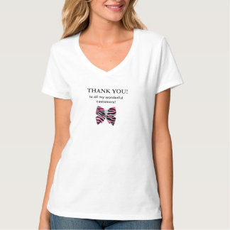 Customer Thank You Zebra Bow Cute T-shirt