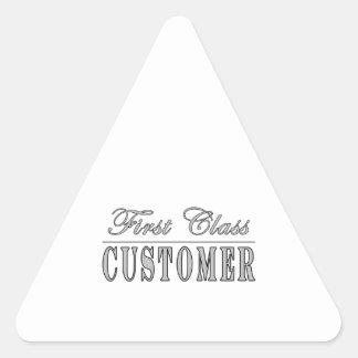 Customers First Class Customer Triangle Sticker