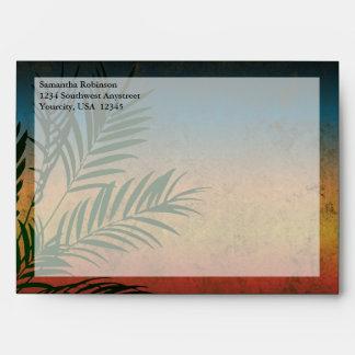CustomInvites Sunset Wedding Palm Branch Envelopes