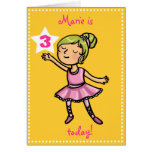 Customisable age Cartoon Ballet Dancer Greeting Card