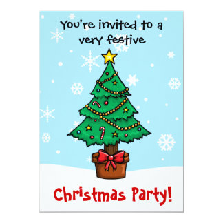 Customisable Cartoon Christmas Tree Party Card