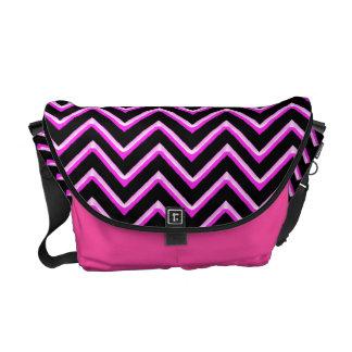 Customisable Chevron Hot Pink Messenger Bags