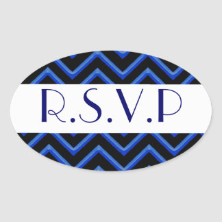 Customisable Chevron (Metallic Blue) (Wedding) Sticker
