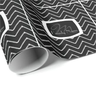 Customisable Chevron Metallic/Silver (Monogram) Wrapping Paper