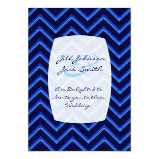 Customisable Chevron Neon/Blue (Wedding) Card