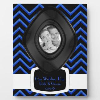 Customisable Chevron Neon/Blue (Wedding) Plaque