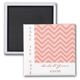 Customisable Chevron Peach (Save The Date) 2 Inch Square Magnet
