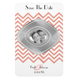 Customisable Chevron Peach (Save The Date) Rectangular Photo Magnet
